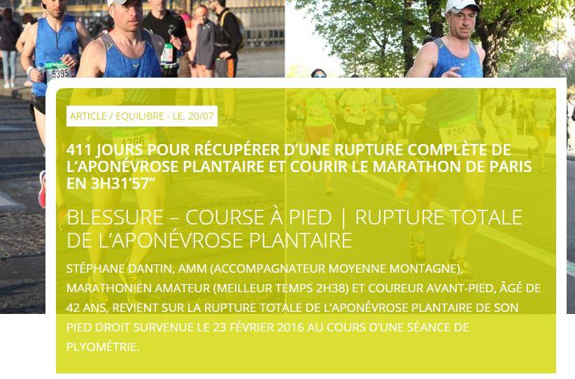 411 jours pour récupérer d une rupture complète de l aponévrose plantaire  et courir le marathon de Paris en 3h31 57   – EAD-concept c6674426ae9